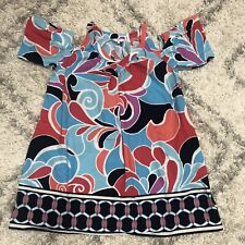 Crown & Ivy ladies summer dress large cut out flared sleeves vibrant Colorful