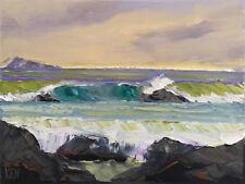 PACIFIC COAST TWO Original Expression Seascape Ocean Painting 12x16 071817 KEN
