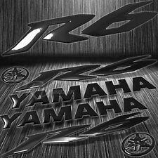 "5.75"" 3D Logo+Letter Decal+6"" Fairing Emblem Sticker for YZF-R6/R6S Glossy Black"