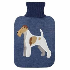 Aroma Home Fox Terrier Blue Roll Neck Knitted Cover 2 Litre Hot Water Bottle