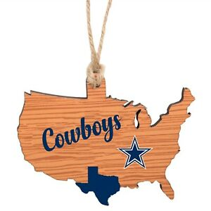 Dallas Cowboys Christmas Tree Holiday Ornament - Logo TX State Wooden Nation USA