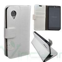 Custodia BIANCA eco pelle per LG Google Nexus 5 D820 stand + tasche porta schede