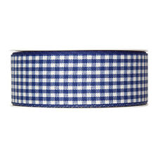 """Dark blue Gingham ribbon check fabric 40mm (1.5"""") Full 25m roll Made in Germany"""