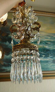 Lamp Crystal Chandelier Vintage ROCOCO brass plated Spelter light fixture light