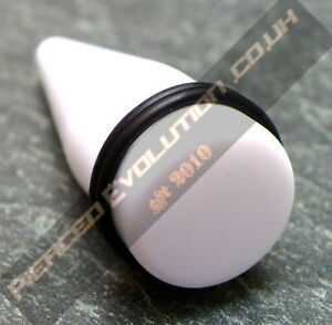 White Acrylic Taper / Stretcher / Expander / Plug (choose size)