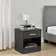 [en.casa]® Mesilla de noche mesita con cajón gris mesa auxiliar moderna
