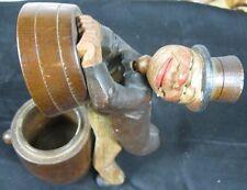Vintage 1900's Carved Wood Mechanical German Cigarette Box Happy Guy