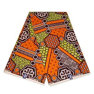 "African fabric ORANGE / GREEN wax print fabric ""GEOMETRICAL"" Ankara kitenge"
