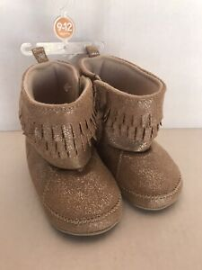 Carter's Baby Girl Booties Beige Sparkle Size 9-12 Months