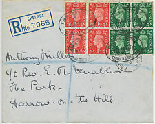 2414 1937 King George VI ½ D and 1 D (each in blocks on four) on FDC
