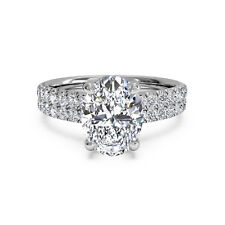 14K Real White Gold Solitaire Ring 1.60Ct Oval Cut Natural Diamond Women's Rings
