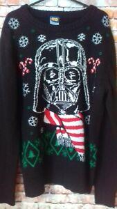 star wars black christmas jumper size m/l armpit to armpit 20 inches
