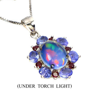 Unheated Oval Fire Opal 10x8mm Rhodolite Tanzanite 925 Sterling Silver Necklace