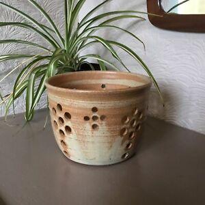 Vintage Mid Century Stoneware Studio Pottery Plant Pot-JW #6373