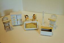 Vintage Nursery Doll House Wood Furniture - 8 Piece White / Yellow Twins!