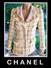 CHANEL Tweed Yellow Tan White Fringed Blazer/Jacket Tan 36 ^