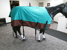 """New 1200D Heavy Winter Horse Turnout Blanket / Teal / Brown 68"""""""