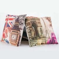 18inch Tower Clock Cotton Linen Pillow Case Car Waist Cushion Cover Home Decor