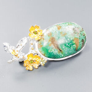 Turquoise Brooch Silver 925 Sterling Jewelry Fine Art Unique /NB09668