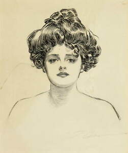 Charles Dana Gibson Portrait of a Young Gibson Girl Poster Giclee Canvas Print