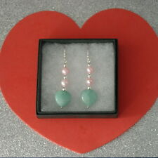 Beautiful Earrings With Brazilian Aquamarine And Pearls 5 Cm Long + Hooks In Box
