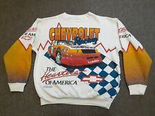 VTG Chevrolet Nascar Racing All Over Print Sweatshirt Shirt WHT X-Large ? T Tee