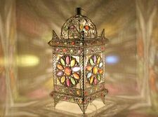 Table Lamp Stunning Moroccan Style Silver Multi Beaded Cut work Flower Brand New