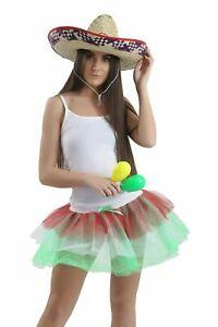 Womens Mexican Party Tutu Set Skirt Top Hat Maracas Ladies Fancy Dress Outfit