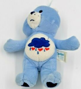 "2002 Stuffed Plush Blue Grumpy Care Bear Rain Cloud 7"" Sticky hook & loop hand"