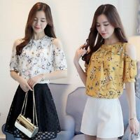 Women Short Sleeve Floral T-Shirt Off Shoulder Chiffon Blouse Casual Summer Top