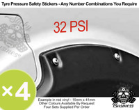 Tyre Pressure PSI Stickers x4 Car Van Hire Taxi Bus ANY NUMBERS - 9 COLOURS