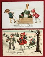 2 x Glückwunsch AK NEUJAHR 1930 Kinder mit Schlitten und Sektflasche ( 67473