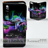 For Apple iPhone Series - Neon Car Print Wallet Mobile Phone Case Cover