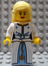 LEGO Minifig Female PRINCESS White Dress with Blue Trim Red Lips Blond Hair