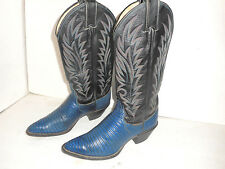 Justin Lizard Cowboy Boots Womens  Blue Leather Slip On Western Riding Sz 6 B