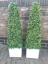 2 new  ARTIFICIAL BOXWOOD TOPIARY TREE PYRAMID CONE PLANT 90cm / 3FT TALL HIGH
