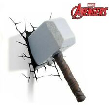 Marvel Avengers Thor 3D Hammer FX LED Wall Night Light Sticker Decoration Mount