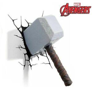 Thor 3D Hammer FX LED Marvel Avengers  Wall Night Light Sticker Decoration Mount