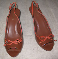 Cole Haan  brown patent leather open toe slingback  heels size 10 B