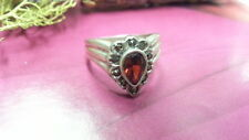 Beautiful Pear Red Garnet Marcasite Flower Ring 925 Sterling Silver *Size 7*F862