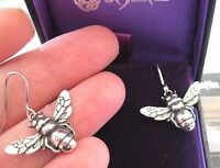 NEW ST JUSTIN JEWELLERY GORGEOUS PEWTER BUMBLE BEE DROP EARRINGS GIFT BOXED