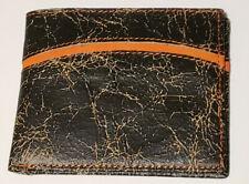 NOCONA Distressed LEATHER Brown Orange Detail Bifold WALLET (SAME DAY SHIPPING)