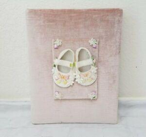 Baby Girl Photo Album Embelished Butterfly Shoes Velvet Fabric Peach Handmade