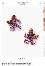 Kate Spade Pedal Pusher Studs, Purple flowers with jewel earrings