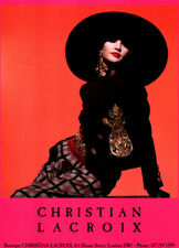 Publicité ancienne, Christian Lacroix, luxe, femme, Londres, 1990, affiche PUB
