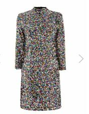 B 250# warehouse RAINBOW SEQUIN HIGH NECK DRESS size UK 6