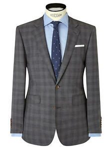 John Lewis Woven in Italy Half Canvas Check Tailored Suit Jacket, Size 36R £165