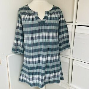 Seasalt White & Sea Green Blue Coracle Tunic Top Size 12 Checked 100% Cotton