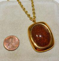 """Vintage Gold tone Faux Agate Stone Porcelain Pendant Chain 24"""" Necklace 9j 11"""