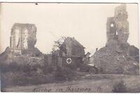 uralte AK Kirche in Haisnes Frankreich Rotes-Kreuz-Wagen//27